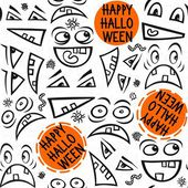 Funny scary faces messy monochrome autumn holiday seamless pattern with colorful halloween wishes on white background — Stockvektor