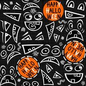 Funny scary faces messy monochrome autumn holiday seamless pattern with colorful halloween wishes on dark background — Stock Vector