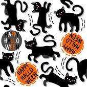 Black cats with halloween wishes holiday seamless pattern on white background — ストックベクタ