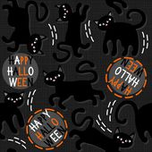 Black cats with halloween wishes holiday seamless pattern on dark background — ストックベクタ