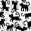 Black cats holiday seamless pattern on white background — Stock Vector #51213167
