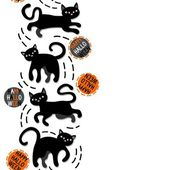 Black cats with halloween wishes holiday seamless vertical border on white background — ストックベクタ