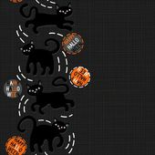 Black cats with halloween wishes holiday seamless vertical border on dark background — Vector de stock