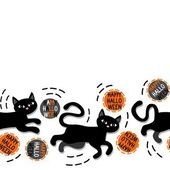 Black cats with halloween wishes holiday seamless horizontal border on white background — Stockvektor