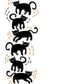 Black cats cartoon abstract seamless horizontal border on white background — 图库矢量图片
