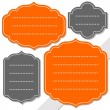 Gray and orange retro shaped blank frame isolated on white background holiday sticker set — Stock Vector #51365819