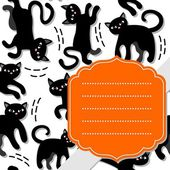 Black cats holiday seamless pattern on white background with retro shaped orange frame and gray ribbon holiday card — Wektor stockowy