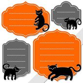 Black cats on gray and orange retro shaped blank frame isolated on white background holiday sticker set — Stock Vector