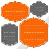 Gray and orange retro shaped blank frame isolated on white background holiday sticker set — Stock Vector