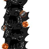 Black cats with halloween wishes holiday seamless vertical border on torn paper dark background — Stockvektor