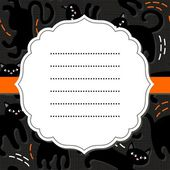 White retro frame on orange ribbon with place for your text on black cats domestic animal seamless pattern on dark background seasonal card invitation poster — Stock Vector