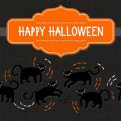 Black cats domestic animal seamless pattern on dark background seasonal card invitation poster with halloween wishes in English on orange retro style shaped frame — Stock Vector