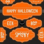 Orange retro shaped frames with Halloween wishes and quotes isolated on dark background autumn holiday sticker set — Stock Vector