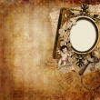 Stock Photo: Vintage background with frame and angel