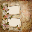 Vintage background with frames and roses — Stock Photo