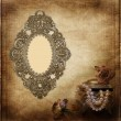Old frame Victorian style on the vintage background — Stockfoto