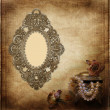 Old frame Victorian style on the vintage background - Stok fotoğraf