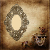 Old frame Victorian style on the vintage background — Stock Photo