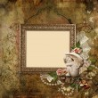 Vintage background with frame and angel — Stock Photo