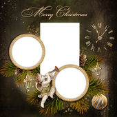 Сhristmas greeting card with frames for a family — Stock Photo