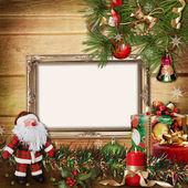 Christmas gratulationskort med ramar för en familj — Stockfoto