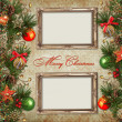 Vintage Christmas background with frame — Stock Photo
