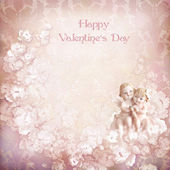 Vintage valentine background with angels — Stock Photo