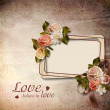 Vintage background with frame and roses — Stock Photo #17987575