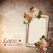 Vintage background with frame and roses — Stock Photo #18006291