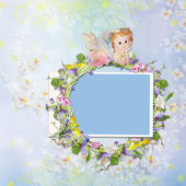 Frame with a wreath of flowers and a fairy on a background — Stock Photo