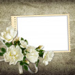 Vintage background with frame and roses — Stock Photo #18624233