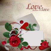 Greeting card with roses and hearts — Stock Photo