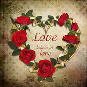 Wreath of roses on a vintage background — Stock Photo