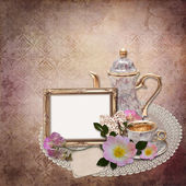 Vintage background with frame and flowers — Stock Photo