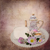 Vintage background with card and flowers — Stok fotoğraf