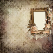 Vintage background with frame, roses and rings — Stock Photo