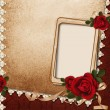Vintage background with frame, roses and ribbons — Stock Photo