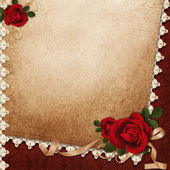 Vintage background with roses, lace and ribbon — Stock Photo