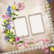 Flowers and frame on vintage background — Stock Photo