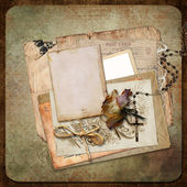 Vintage background with frame, roses and letters — Stock Photo
