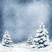 Winter background with Christmas trees and snow — Stock Photo