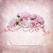 Vintage elegance background with card and rose — Stock Photo