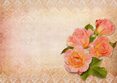 Greeting card with roses and lace — Stock Photo