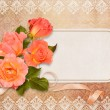 Greeting card with roses — Stok fotoğraf