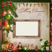 Christmas decoration with frame on the vintage background — Stock Photo