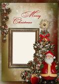 Christmas wenskaart met frame — Stockfoto