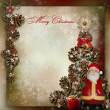 Vintage background with Christmas tree and Santa Claus — Stock Photo