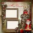 Stock Photo: Vintage background with frame, Christmas tree and Santa Claus