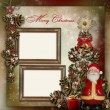 Vintage background with frame, Christmas tree and Santa Claus — Stock Photo