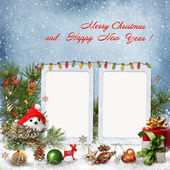 Christmas decoration with frames on a snowy background — Stock Photo